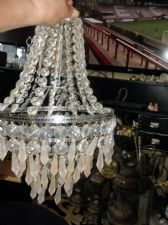 ELEGANT SPARKLE CLEAR + FROSTED DROPS CHANDELIER LAMPSHADE CHROME RINGS 15""